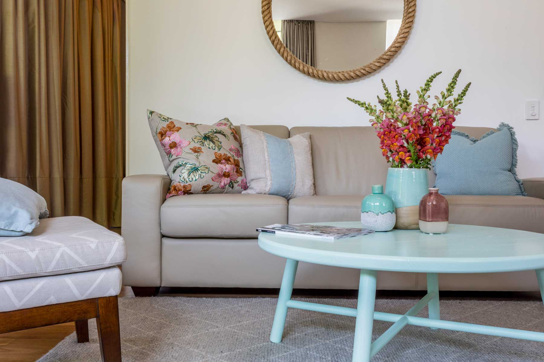 Robyn's vibrant beach apartment - after - lounge floral