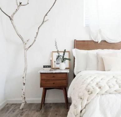 natural Scandi interior design bedroom