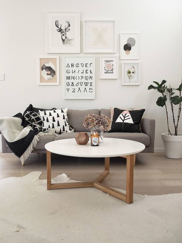Scandi interior design living room gallery wall