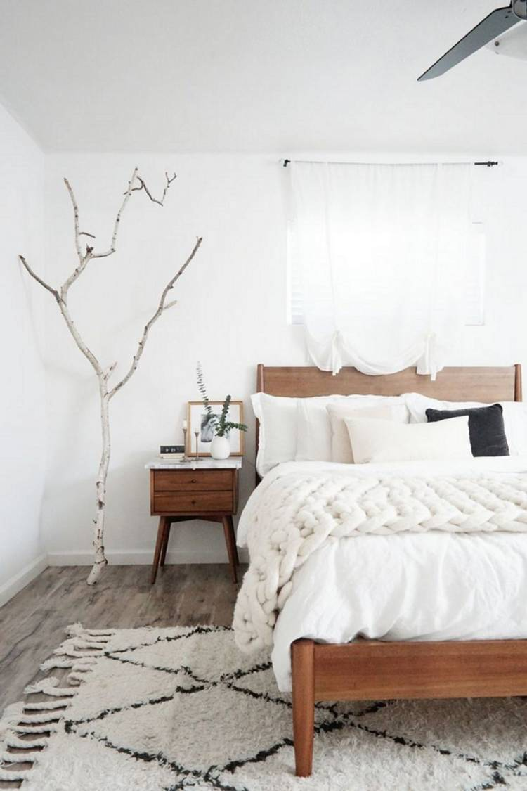 natural and Scandi interior design bedroom
