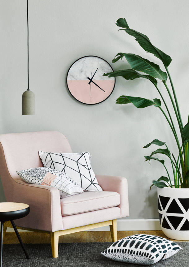 Scandi pink chair and clock