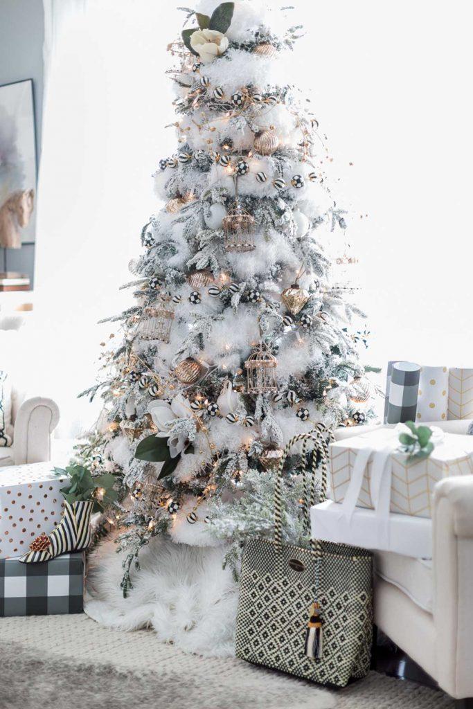 Christmas tree decorating snowy white xmas tree