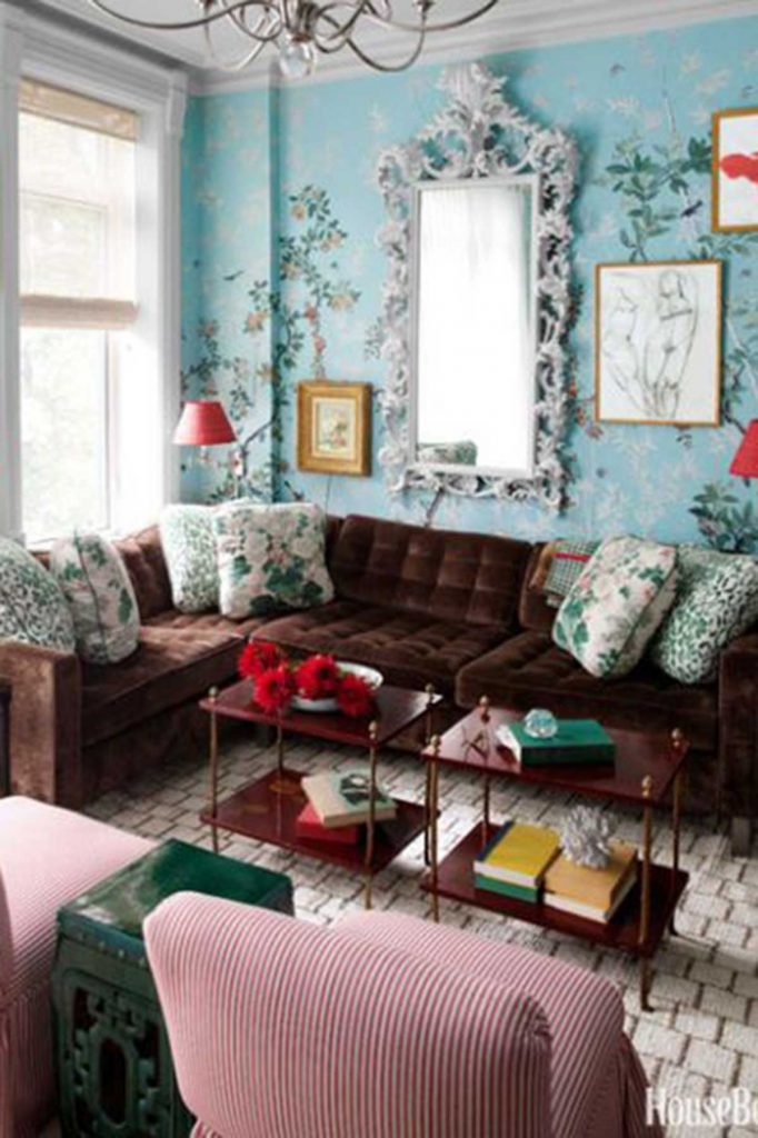 Vintage style living room with red velvet couch