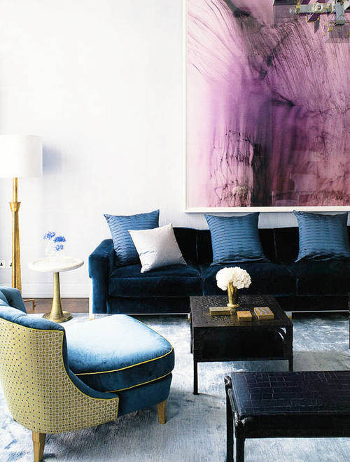 blue living room furnishings