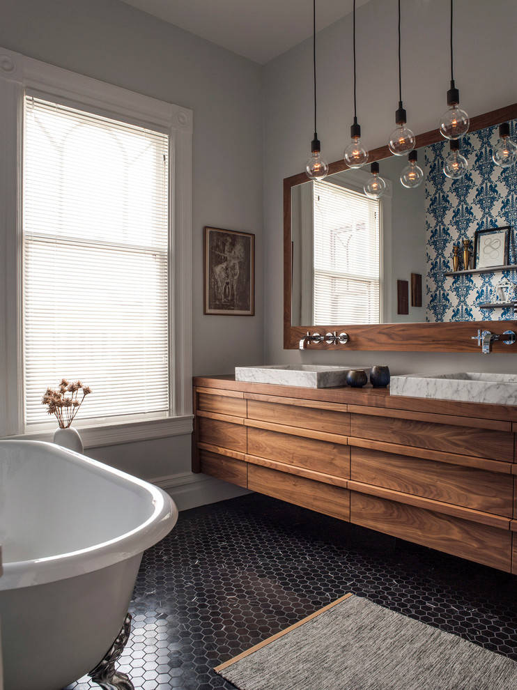boho bathroom patterned tiles