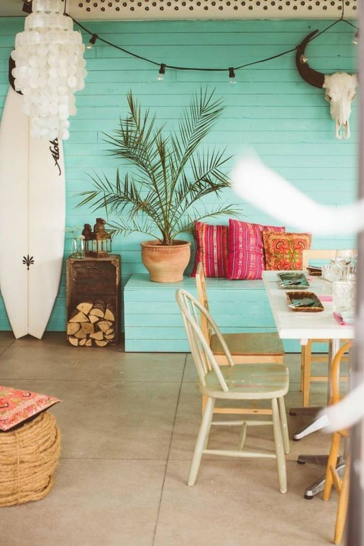 boho coast interior design beach home outdoor area