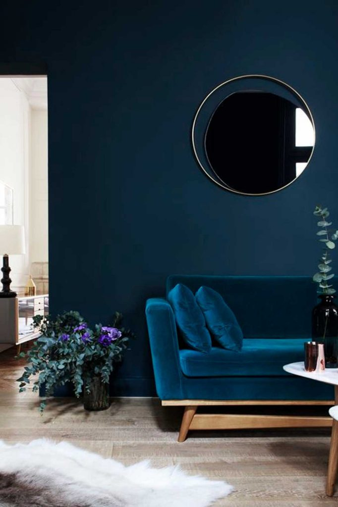 practical luxe design deep blue living room