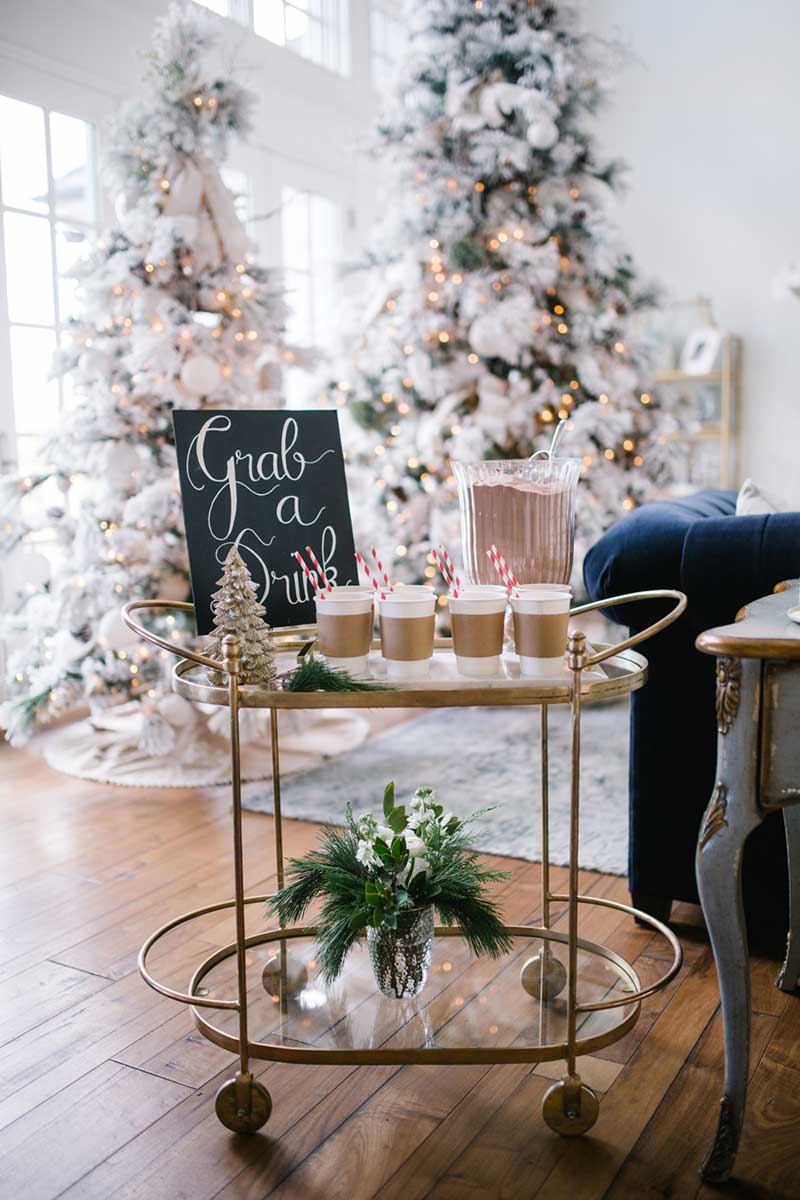 Christmas interior decorating bar cart