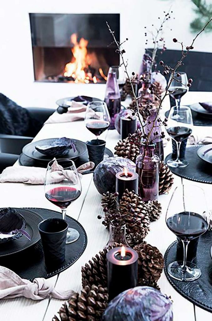 Scandinavian interior design dark Christmas table setting