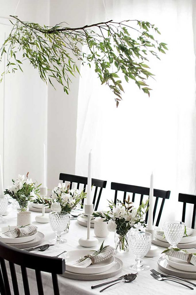 Scandinavian interior design white Christmas table setting