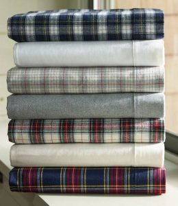 master bedroom flannel sheet stack