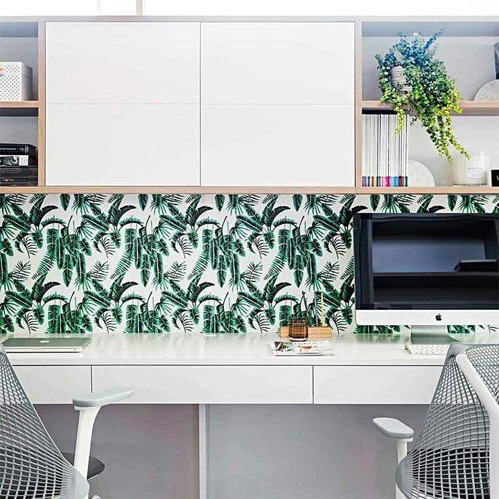 home interior design styles green tropical wall print