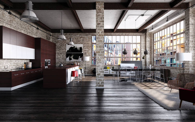 industrial open living room and kitchen
