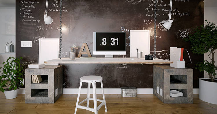 industrial interior design home office with chalk wall