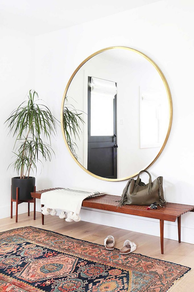 practical luxe design round gold mirror