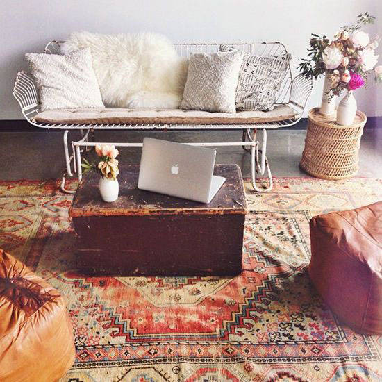 modern boho interior design living room
