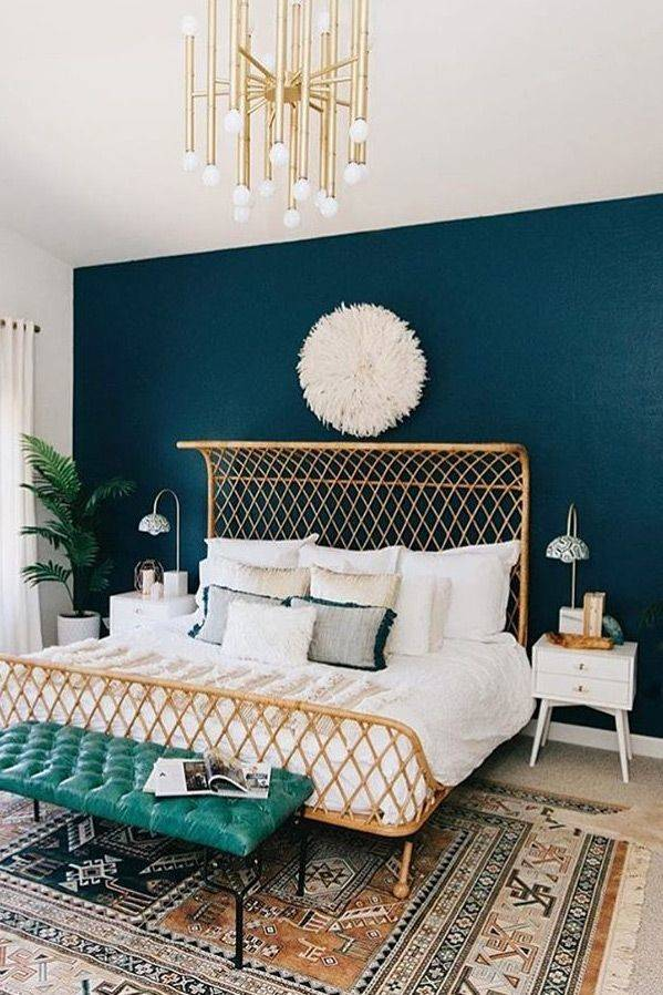 modern eclectic bedroom blue feature wall