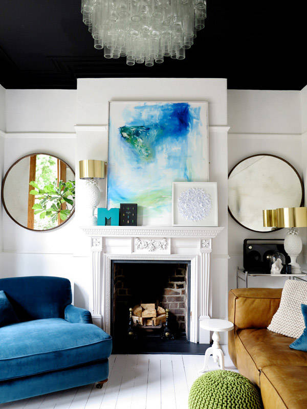 modern eclectic lounge room blue and white