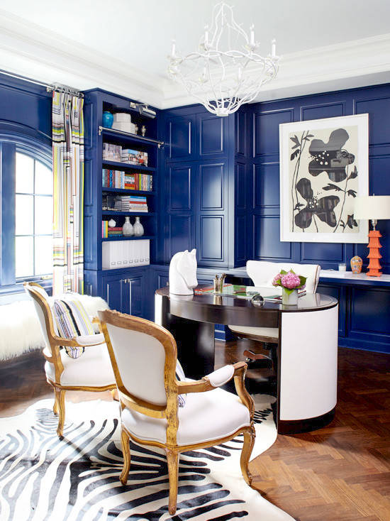 sapphire blue lacquered walls