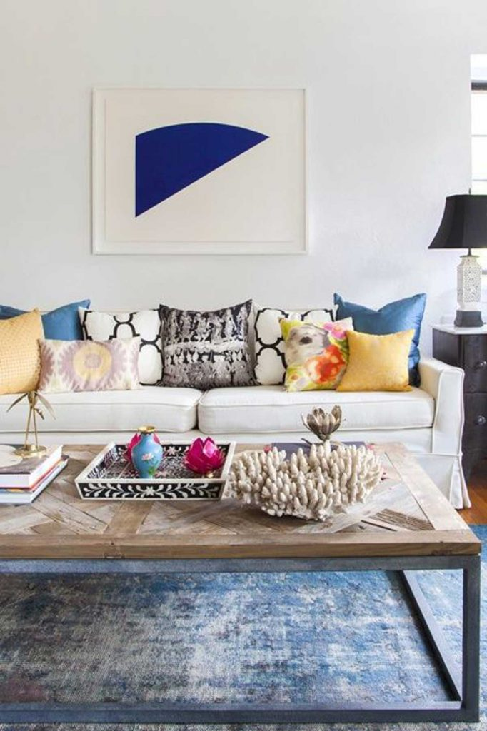 practical luxe design blue living room