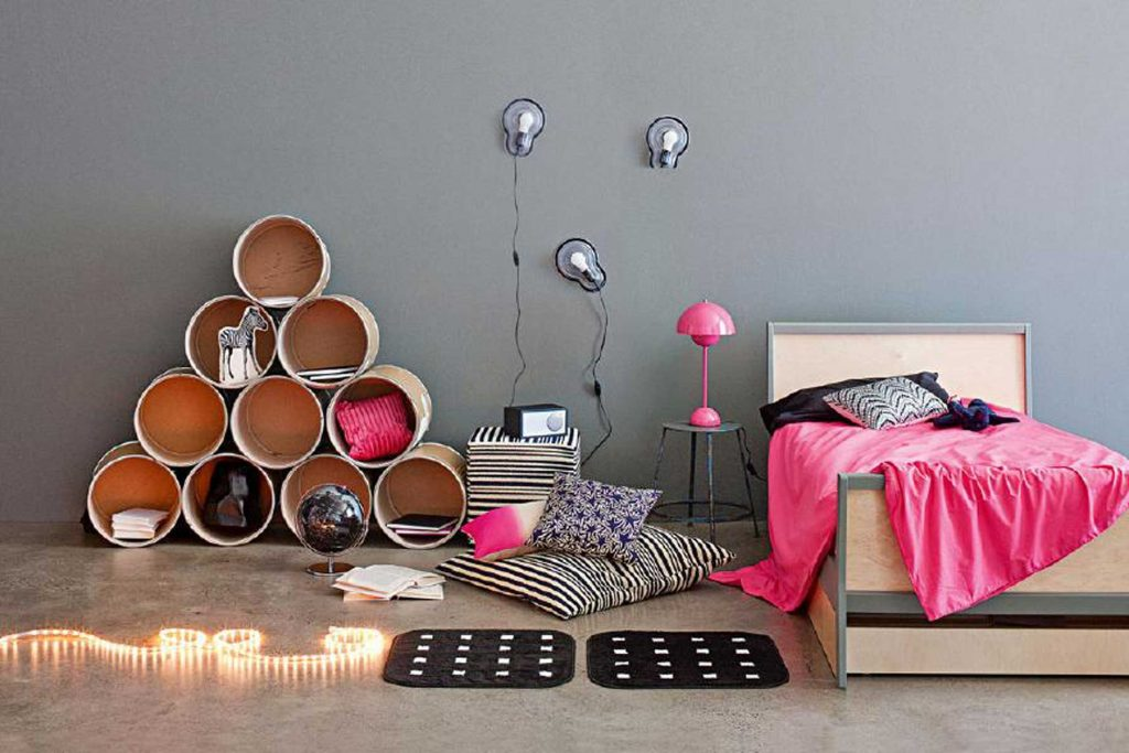 tween-age bedroom cylindrical shelves