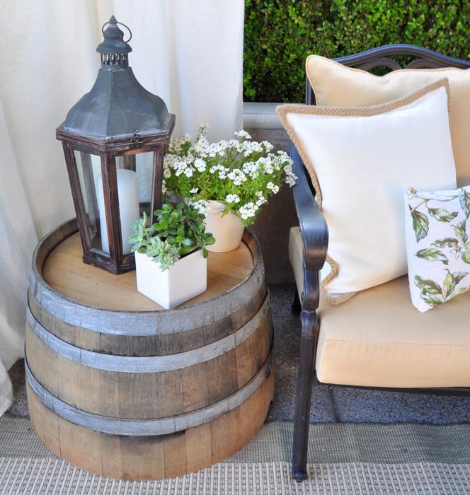 barrels in garden