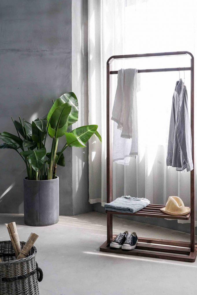 minimalist grey wardrobe