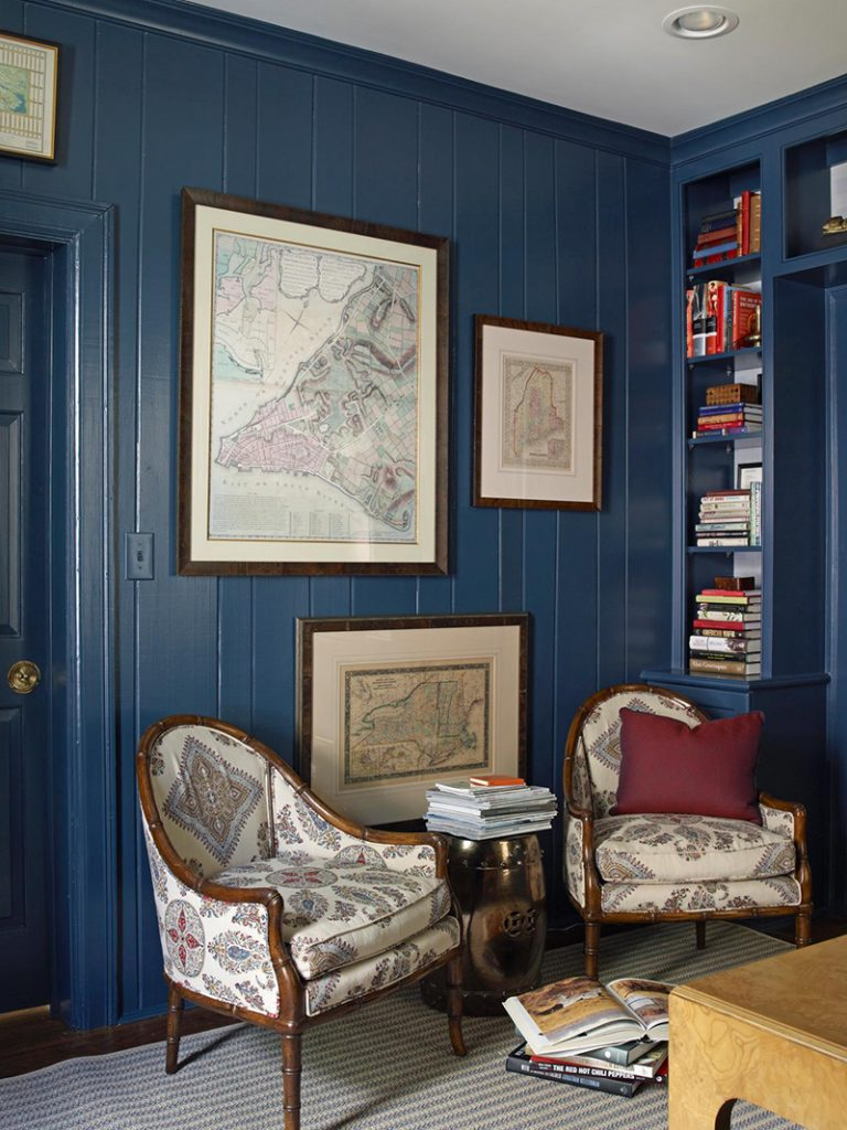 dark blue rustic interior
